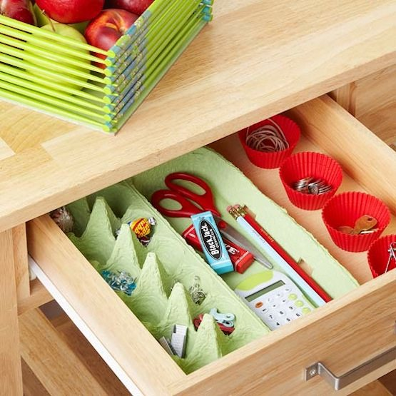 Clever Storage Uses for Repurposed Items :: an egg carton and cupcake liners are great drawer organizers for the office