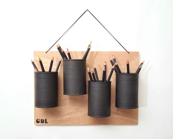 Clever Storage Uses for Repurposed Items :: spray painted cans as pencil & pen holders