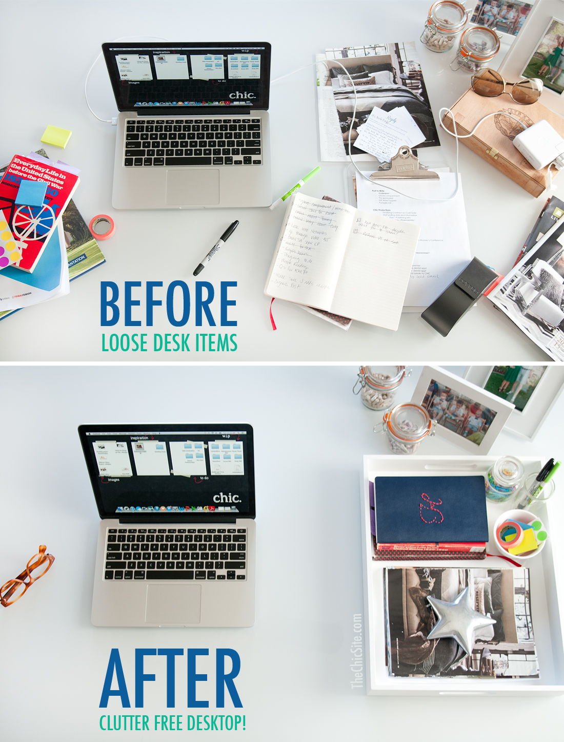 use a tray to organize your desk
